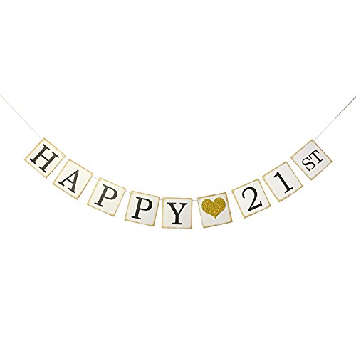 [Happy 21st Birthday Banner Gold Glitter – Forever 21 Party Favors, Supplies, Gifts, Themes and Ideas - Vintage Happy Birthday Decorations] (21st Birthday Decorations)