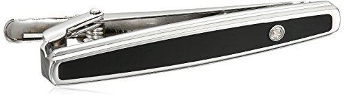 Men's Stainless Steel Black Enamel and Diamond Accent Tie Clips