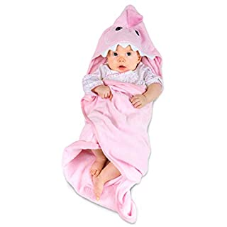 Hudz Kidz Hooded Baby Shark Towel, Soft 100% Cotton, Perfect for Newborn Through Toddler (Pink)