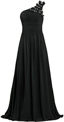 Fourmis Fleurs De Perles Formelle Robes De Bal De L'épaule Longues Robes De Soirée Noire