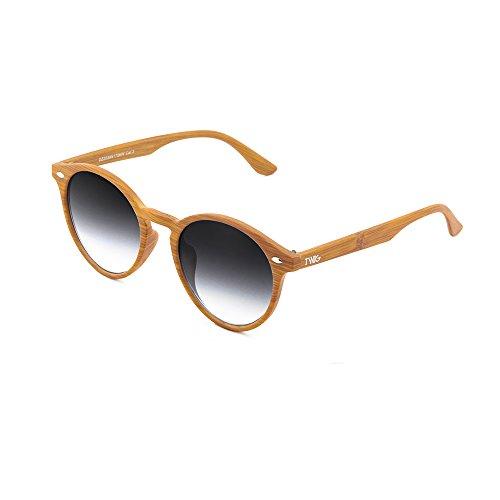estilo redondo de Degradado madera Gafas Negro sol mujer Chestnut FLAUBERT hombre TWIG UHIqU4wT