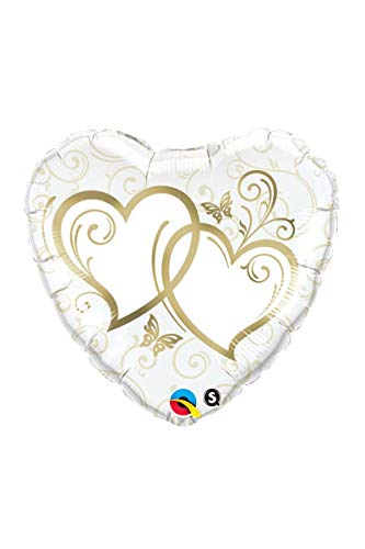 - Qualatex Foil Balloon 017244 Entwined Hearts - Gold 36