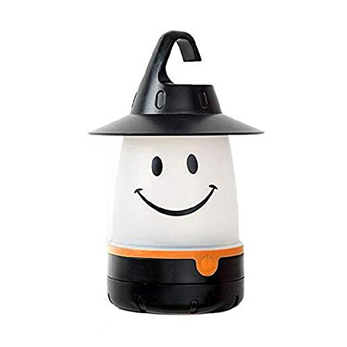 Smile lantern, Smiley Face LED Night Light Portable Moving Table Lamp for Indoor Outdoor Decorate Kids Room Hallway (Black)-Megach]()