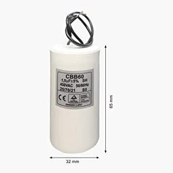 Start run capacitor wired All Size (1.5UF)