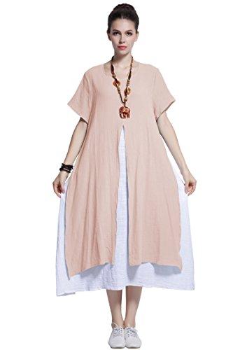 Anysize Faux Deux Pièces De Lin Et De Coton Robe Printemps Été, Plus La Taille Des Vêtements Y110 Pêche