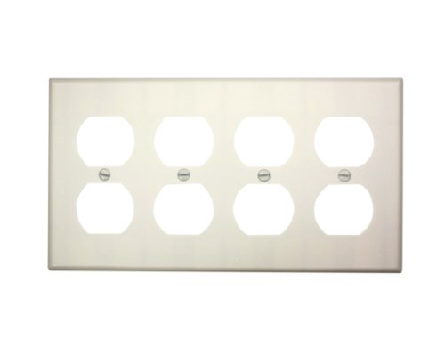Leviton 88041 4-Gang Duplex Device Receptacle Wallplate, Thermoset, Device Mount, White