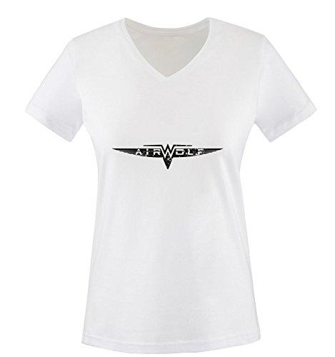 wolf Air Blanc Manches T noir Blanc shirt Femme Courtes RdqdprCw