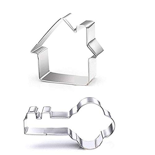 Stainless steel key and house sugar cookie cutter set - 2 pieces