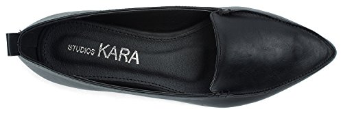 Slip Chic Toe Black Shoes On Pointy Loafer AnnaKastle Womens Vegan Leather Flat wpXtqU8x