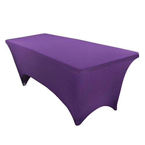 VEEYOO 6 Feet Rectangular Polyester/Spandex Stretch Table Cover Tight Fitted Tablecloth for Wedding Party Banquet Trade Show, Purple by VEEYOO