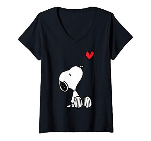 Womens Peanuts Heart Sitting Snoopy V-Neck T-Shirt