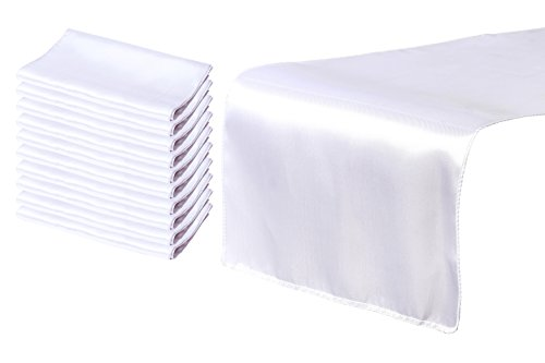 Juvale White Table Runner - 10 Pack Wedding Table Runners, Tablecloth Runner Decoration, Perfect for Weddings, Baby Showers, Birthdays, Special Occasions, Catering, 108.3 x 11.8 - Runner Polyester Table