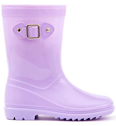 Pictures of MOFEVER Toddler Girls Kids Rain Boots Waterproof MFULP18BPUR10 1