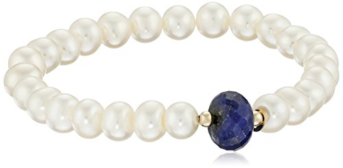 7-7.5mm Freshwater Cultured Pearl and 10-12mm Blue Sapphire Stretch Bracelet with 14KY Gold Beads Stretch Bracelet, 7.25
