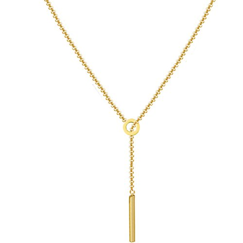 Round Gold Chain Y Type Simple Bar Necklace Pendant Bar Drop At Center Long Lariat Necklace ()