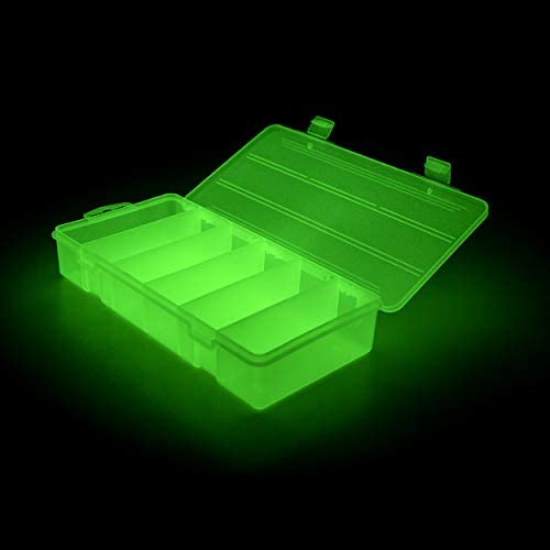 KASSupply Glow in The Dark Tackle Box, Glowing Plastic Storage Organizer Box, 6 Compartment Stowaway Lure Box