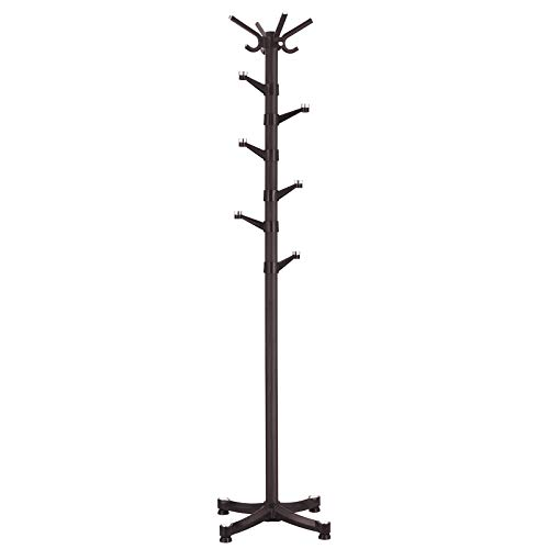 (SONGMICS Coat Rack Purse Rack Hall Tree with 14 Rotating Plastic Hooks Espresso URCR19Z)