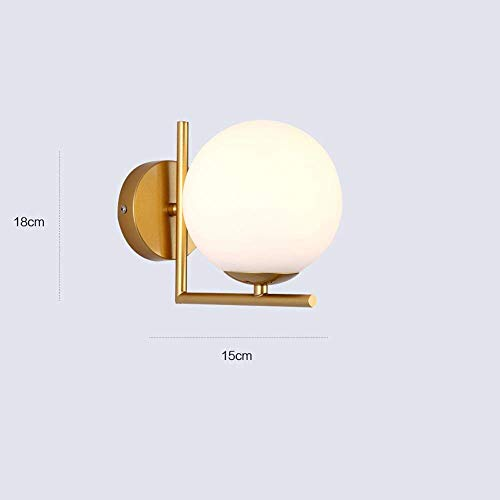 Outdoor Wall Lights Modern Contemporary round Glass Wall Lamp E27 High Brightness Simple Small Living Room Wall Lamp Sconces Single Head Europe Restaurant Aisle Bar Decoration Wall Lantern ,Gold , W