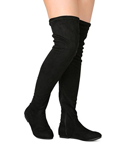 ROF Women's Faux Suede Fitted Flat to Low Heel Over The Knee High Boots BLACK SUEDE (Flat Over The Knee Boots)