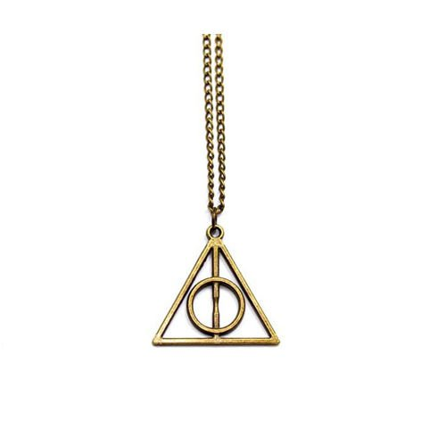 New Fashion Vintage Unisex Women Men Bronze Triangle Pendant Statement Necklace