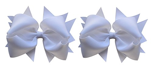 Hair Bow Set for Girls (2) 4.5 Inch Grosgrain Ribbon Hair Bows by Funny Girl Designs (Bright White)
