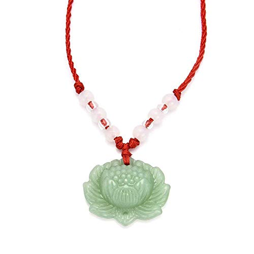- BAIBUE BUESAWAN Natural Green Jade Lotus Pendant Necklace Fashion Lucky Charm Pendant Jewelry