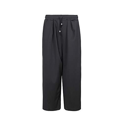Pantalon Noir Taille Élastique À Zhrui Unie Taille Couleur Grande 17dqEwWcA