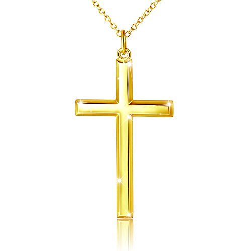 Mens 925 Sterling Silver Classic Cross Pendant Necklace 24  Silver Chain Gold Plated