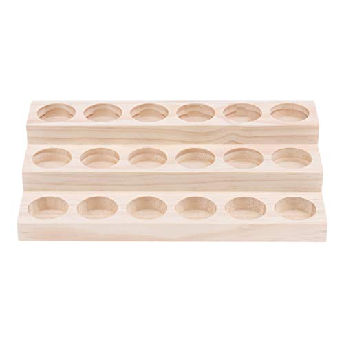 Price comparison product image SM SunniMix Essential Oil Wooden Storage Rack / Holder / Organizer / Container / Case / Box Tray for Displaying and Storage - 18 Slots