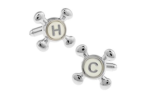 Cold Faucet Cufflinks - H C Silver Tone Cufflinks Hot and Cold Faucet Cuff Links Popular Builder or Contractor in Our Lives