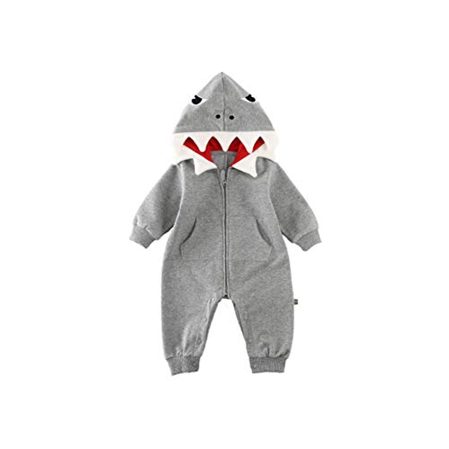 ALLAIBB Baby Boys Girls Cotton Cartoon Shark Romper Cute Jumpsuit Hooded Outwear Costume Size 12-18M (Gray) ()