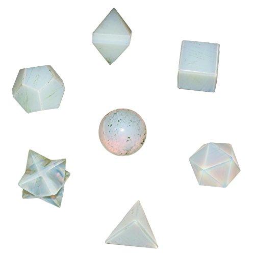 Crocon Opalite Platonic Solid Sacred Geometric 7 Pcs Set for Meditation Crystal Healing Grids