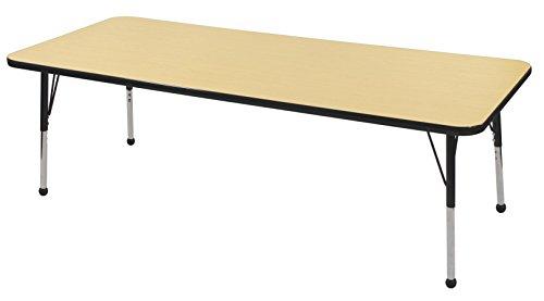 ECR4Kids 24'' x 72'' Rectangular Activity Table, Maple Top/Black Edge, Standard Legs/Ball Glides, Six 14'' Navy School Stack Chairs by ECR4Kids
