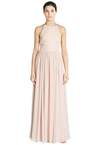 Vera Wang Sequined Top Sleeveless Long Evening Gown Dress