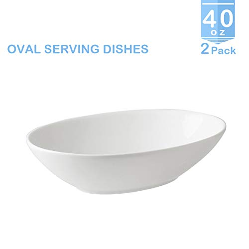 ZONEYILA 0524 Porcelain Serving Oval Bowls 1.1 quart/40 oz-Salad/Pasta Dishes Set, 2 Packs, White, Stackable