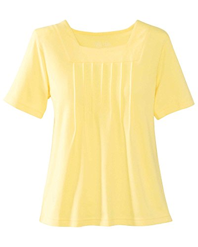 UltraSofts Square Neck Top, Butter, (Yellow Knit Top)
