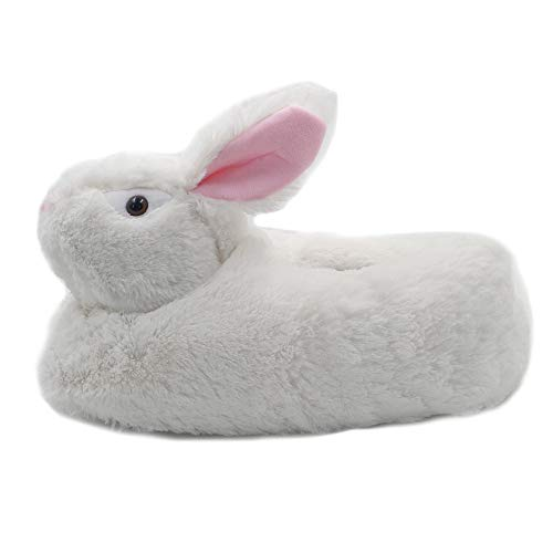 Millffy Classic Bunny Slippers - Adult Sized Plush Animal Slippers Toddlers Costume Footwear (Small/Medium - (Kids Size), White)