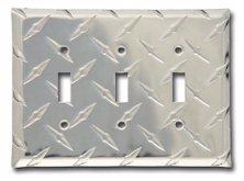 Diamond Triple Toggle Switch Plate - Aluminum
