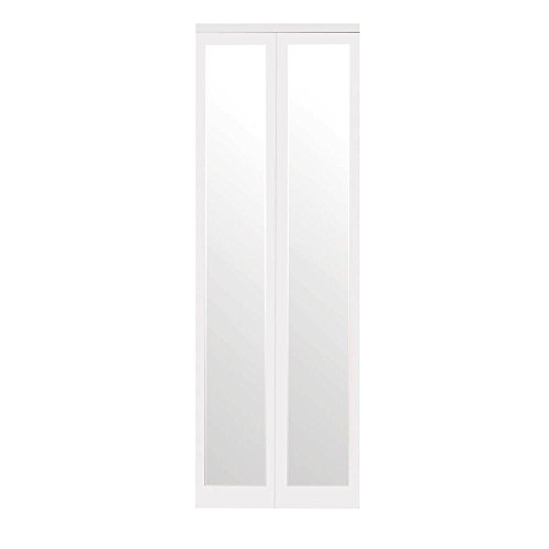 Mir-Mel Primed Mirror White Trim Solid MDF Interior Bi-fold Closet Door (Custom Made Closet Doors Mirror)