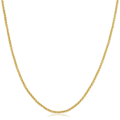 Kooljewelry 14k Yellow Gold Filled 1.5 mm Round Wheat Chain Necklace (22 inch) ()