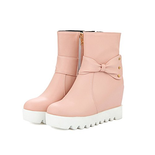 AgooLar Women's Zipper Round Closed Toe High Heels PU Low-Top Boots Pink bTIgzZRb