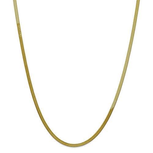 Solid 10k Yellow Gold 3.0mm Silky Herringbone Chain Necklace 24