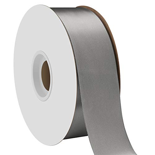 Offray Single Face Satin Craft 1-1/2-Inch by 50-Yard Ribbon Spool, Pewter ()