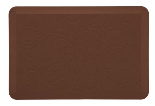 Serta Anti-Fatigue Kitchen Mat 20-inches X 30-inches, Walnut - Proven to relieve discomfort on feet, knees, and back while standing Durable and tear-resistant to ensure strong performance for years Slip resistant bottom keeps mat safely in place - bathroom-linens, bathroom, bath-mats - 31Xzh39WAKL -