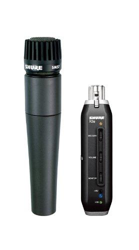 Shure SM57-X2U Cardioid Dynamic Microphone with X2U XLR-to-USB Signal Adapter by Shure