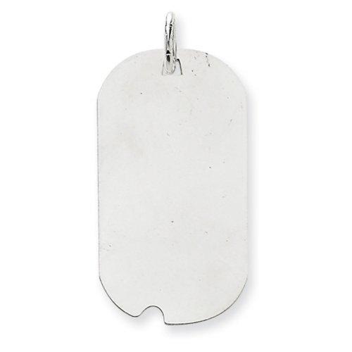 Icecarats Créatrice De Bijoux En Or 14K Blanc Ordinaire 0,035 Jauge Tag Gravable Chien W / Charme De Disque De Cran