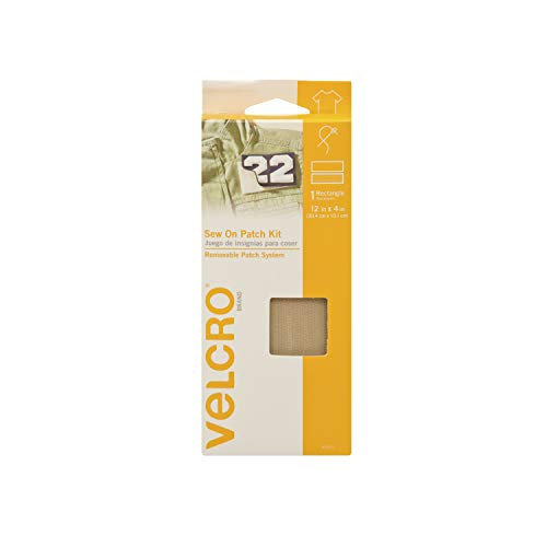 VELCRO Brand For Fabrics | Sew On Patch Kit | No Ironing or Gluing | Removable Patch System for Securing Military and Scouting Patches to Uniforms | Pre-Cut Strips, 12 -