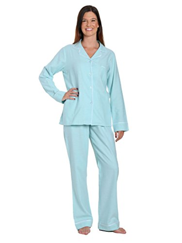 (Women's Cotton Flannel Pajama Sleepwear Set - Herringbone Aqua - Small)