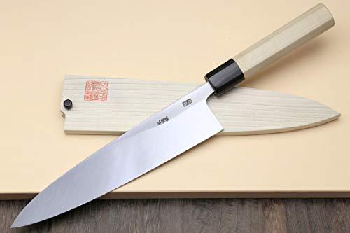 Yoshihiro Hongasumi Blue Steel Mioroshi Filet Sushi Sashimi Japanese Knife Magnolia Handle (8.25''/210mm) by Yoshihiro (Image #2)