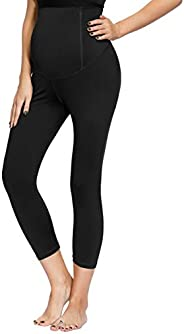 Womens Maternity Activewear Workout Capri Yoga Pants with Crossover Panel